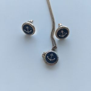 Anchor Locket and Earrings Necklace Set